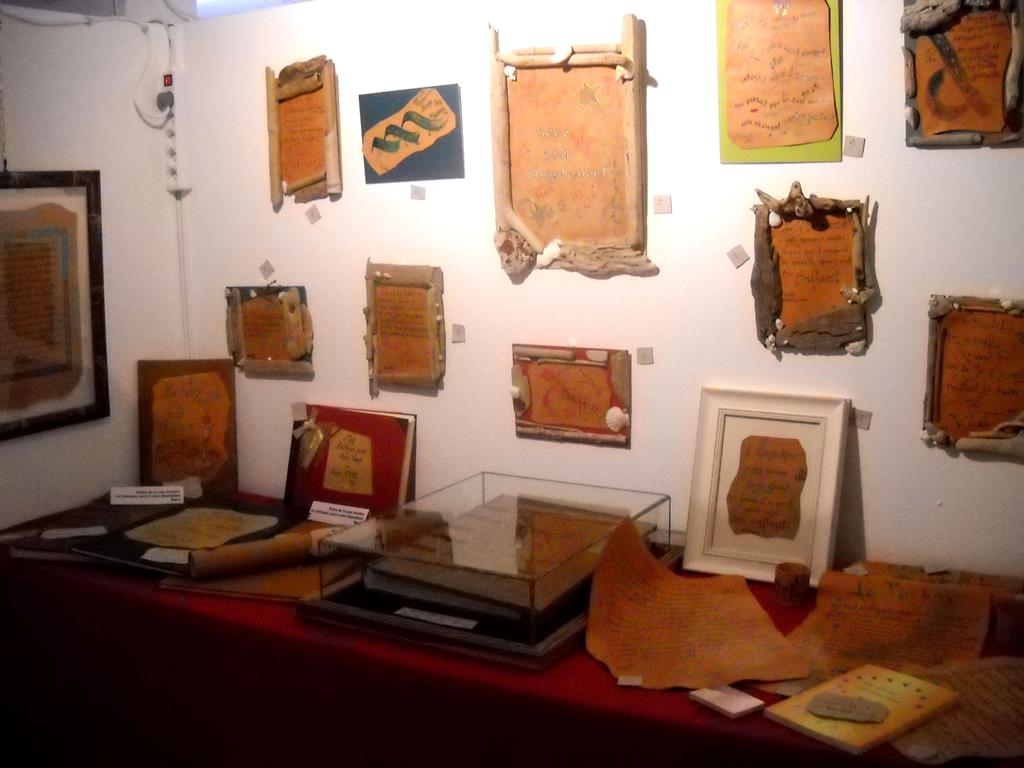 Calligraphie, stand exposition Manosque